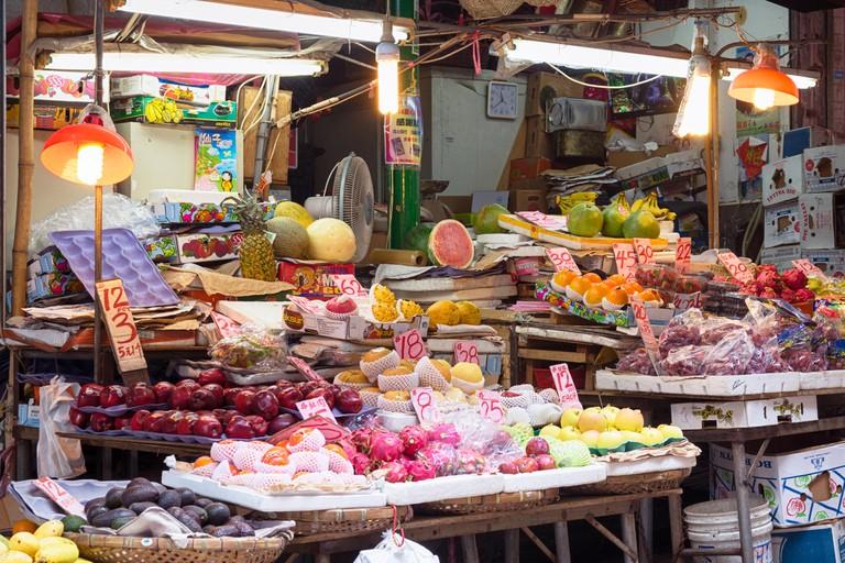 Hong Kong, Hong Kong SAR -November 09, 2014:Market Stall in Graham Street  Market.Graham Street Market is popular tourist destin