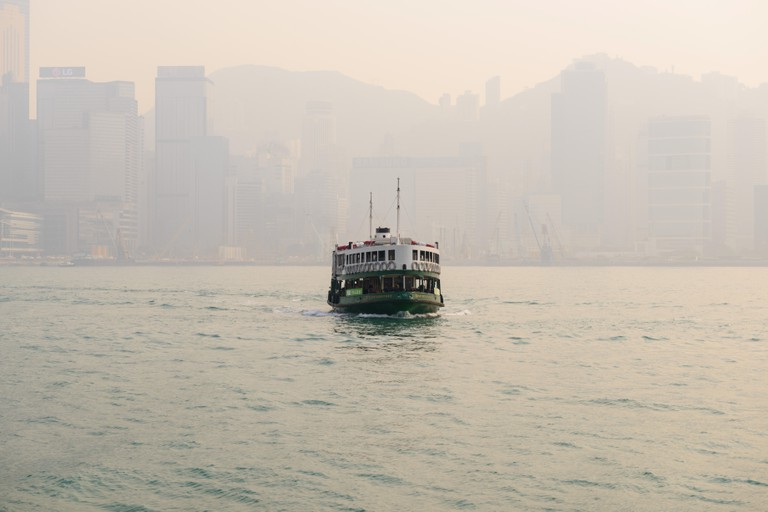 Hong Kong Star Ferry on a smoggy Hong Kong Day
