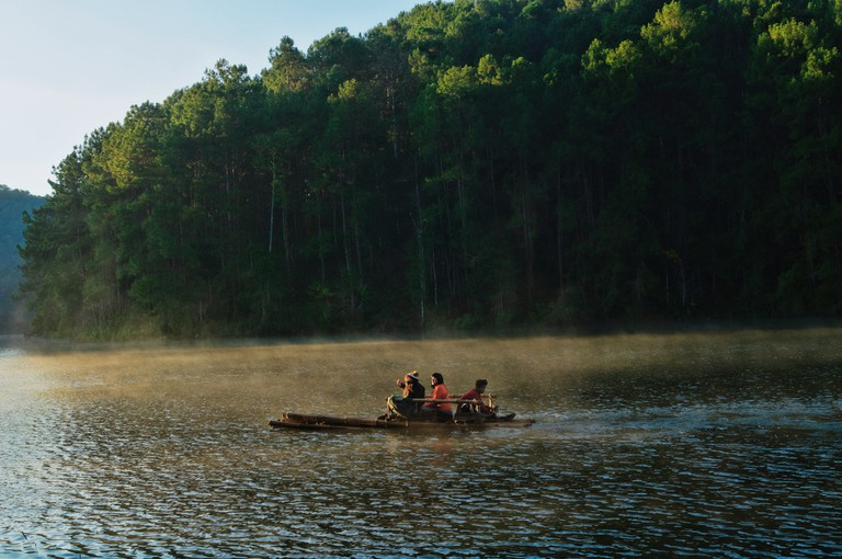 Water Rafting at Pang Oung Lake, Pang Oung, Mae Hong Son, Thailand.