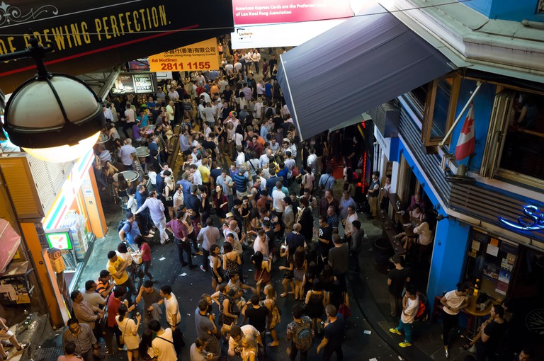 Nightlife in Lan Kwai Fong, Hong Kong, China.