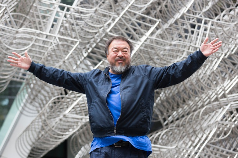 Chinese artist Ai Weiwei, photographed by Bettina Strenske, visits his monumental sculpture Forever in London, United Kingdom.