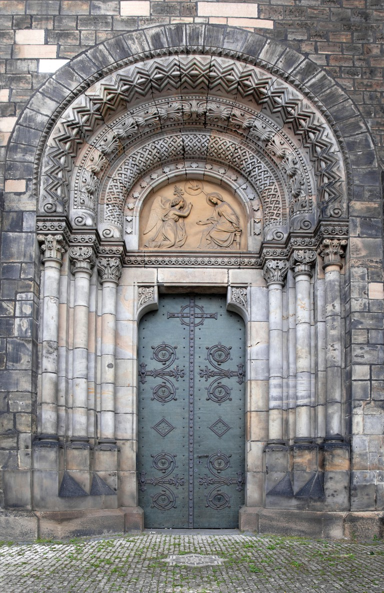 Doorway of Church of Saints Cyril and Methodius, Prague, Karlin