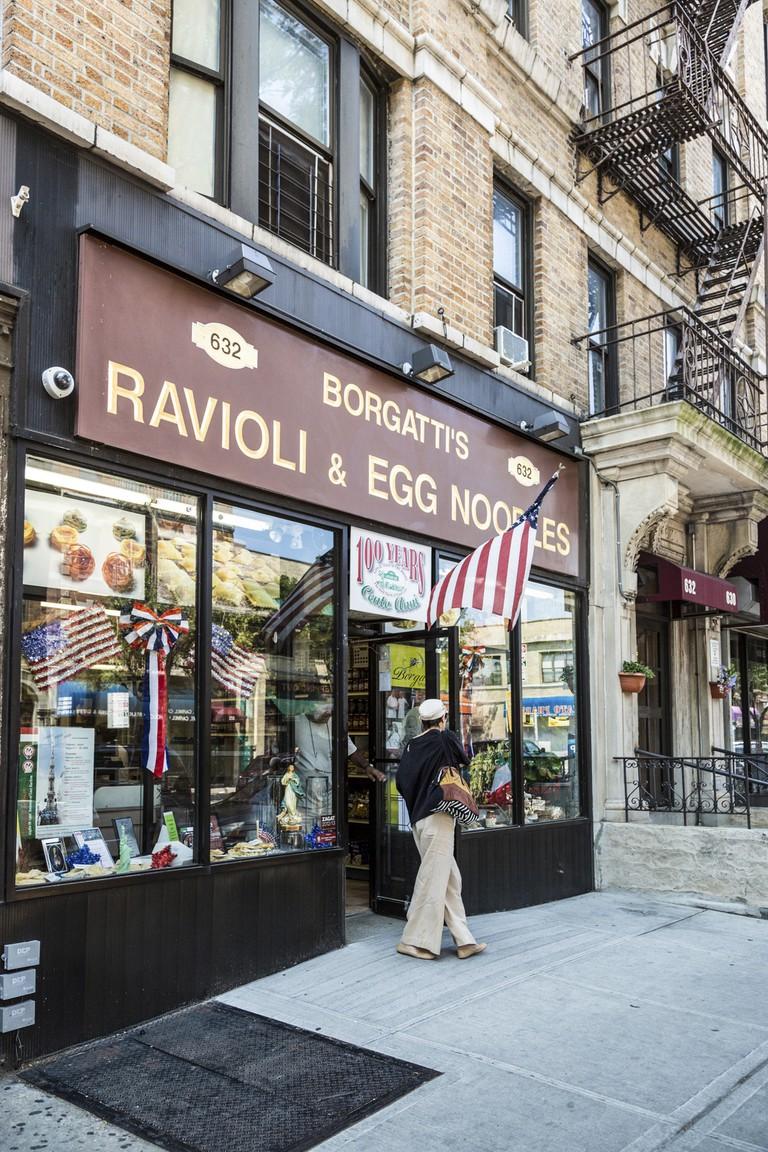 Outside Borgatti's, Arthur Avenue, Bronx, New York.