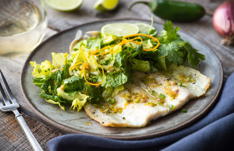 Trout with spicy citrus salad