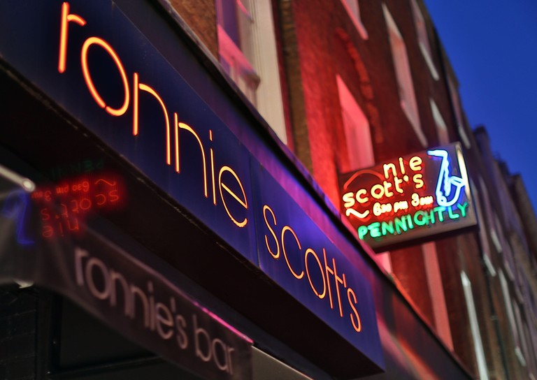 Ronnie Scott's jazz club and bar in Soho, London