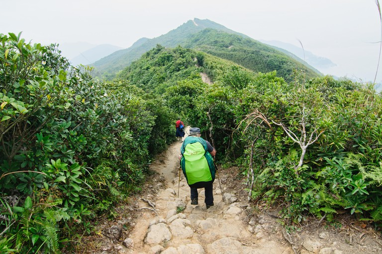 Hiking on the Dragon's Back trail, Hong Kong.