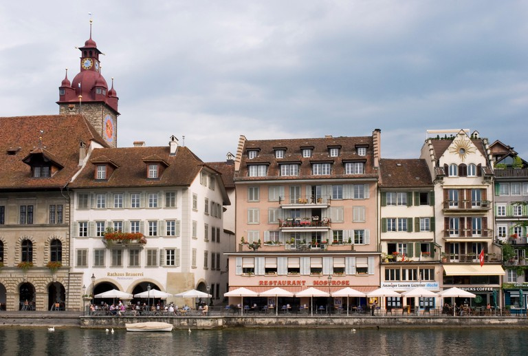 cafe and restaurants along Rathausquai, Lucerne, Switzerland, Europe