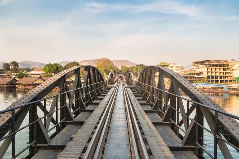 The famous River Kwai bridge in Kanchanaburi, Thailand.