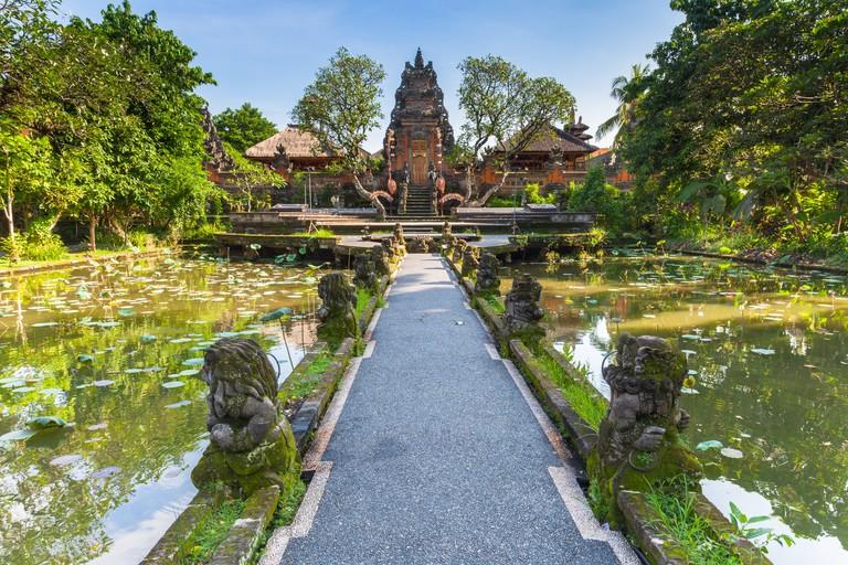 Pura Saraswati Temple in Ubud, Bali, Indonesia.