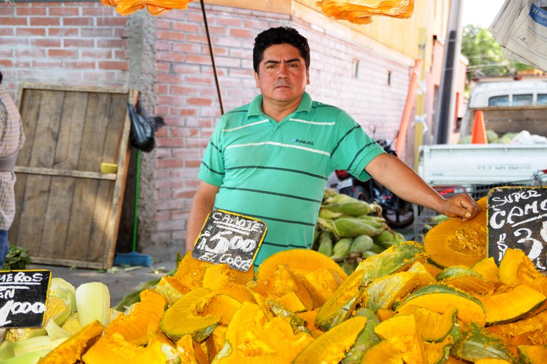 Food Seller in an itinerant opened fair, Recoleta, Santiago, Chile