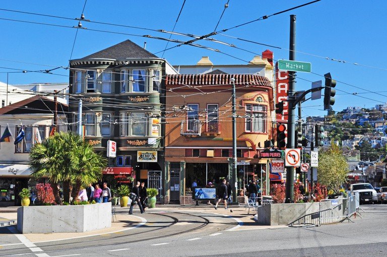 San Francisco: the skyline and the streets of Castro, one of the first gay neighborhoods in Usa, the most prominent symbols of gay activism