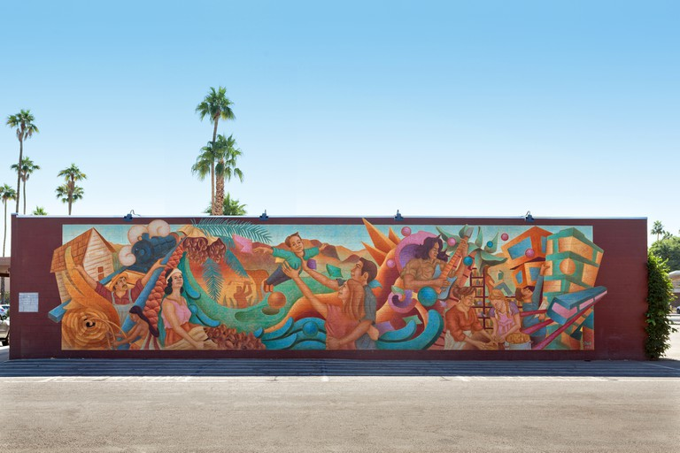 A lovely mural that depicts diverse life in Indio