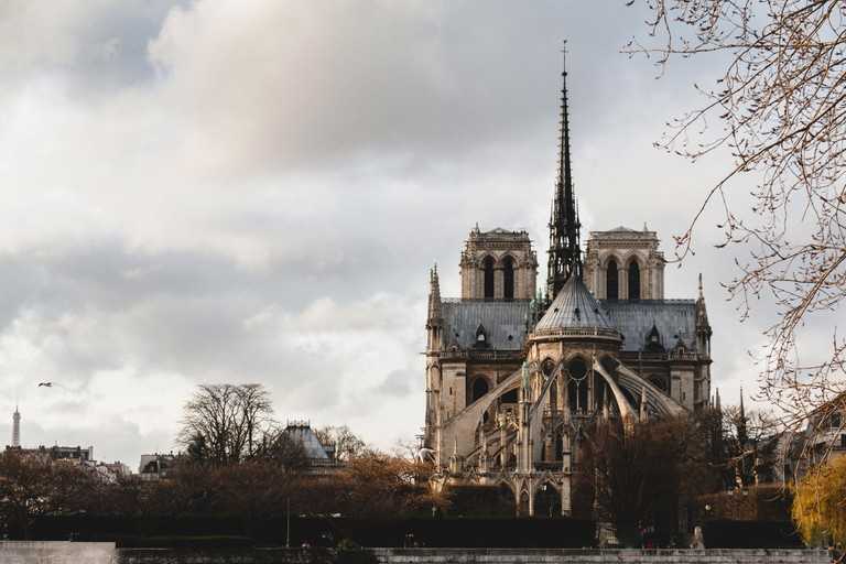 Notre Dame de Paris in Paris France east side