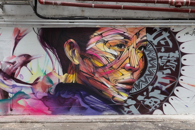Wall painting by Parisian street artist Alexandre Monteiro aka Hopare of Hong Kong actress and canto pop star Niki Chow Walls of Change street art