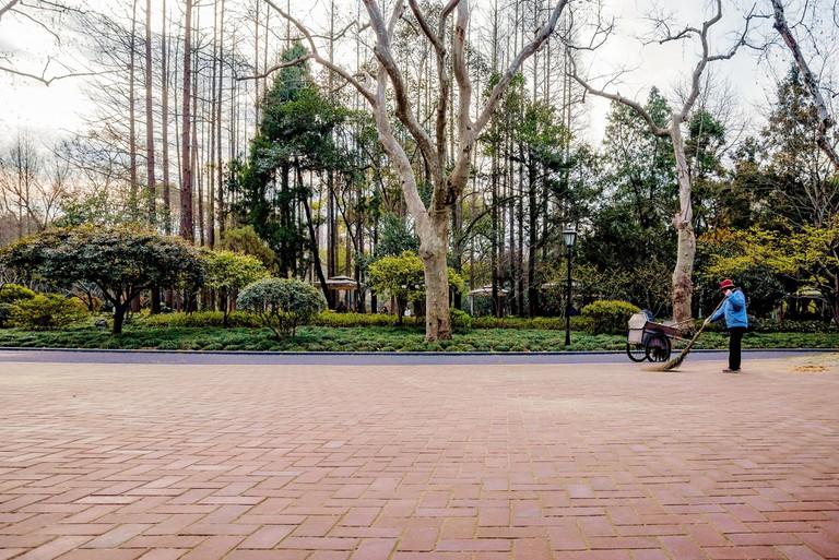 Street sweeper in Zhongshan park