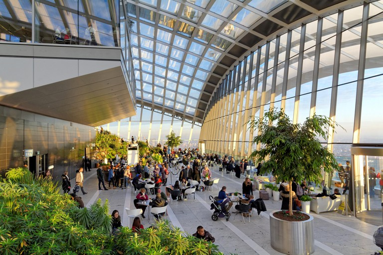 Interior of The Sky Garden, Walkie Talkie building London UK