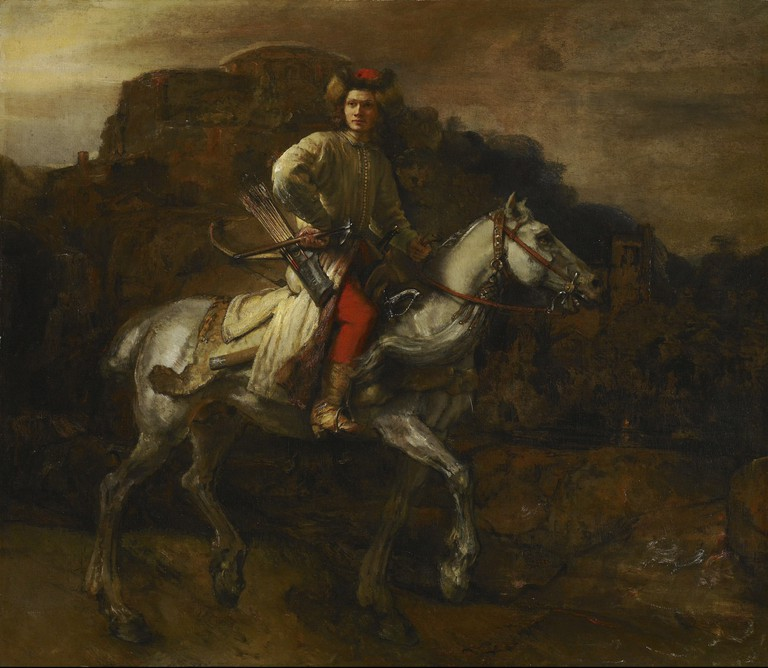 De Poolse ruiter (The Polish Rider) by Rembrandt, c.1655 in Frick Collection, New York.