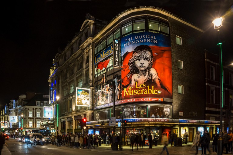 London's West End with Les Miserables at Queens Theatre