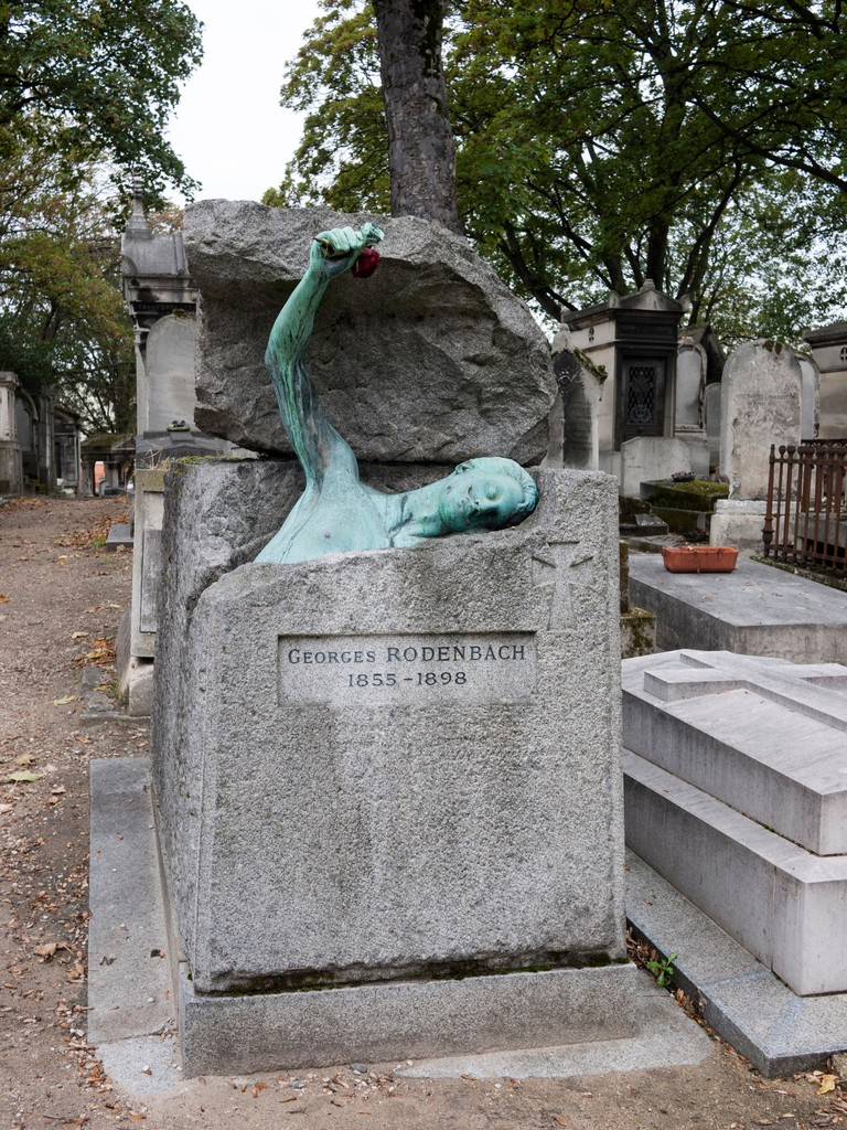 The tomb of writer Georges Rodenbach in Paris, France.
