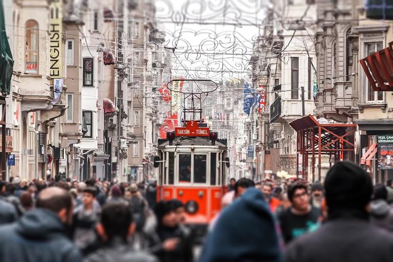 Istanbul, Turkey - February 2015: Taksim Istiklal Street. Istanbul, Turkey. Tilt-shift effected photo