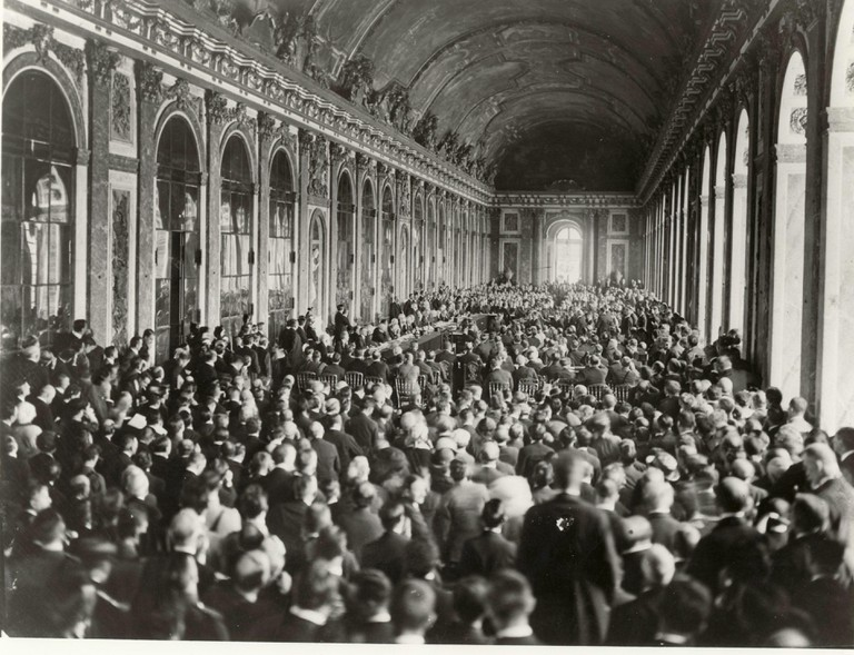 Paris Peace Conference in the Hall of Mirrors at Palais de Versailles, Paris