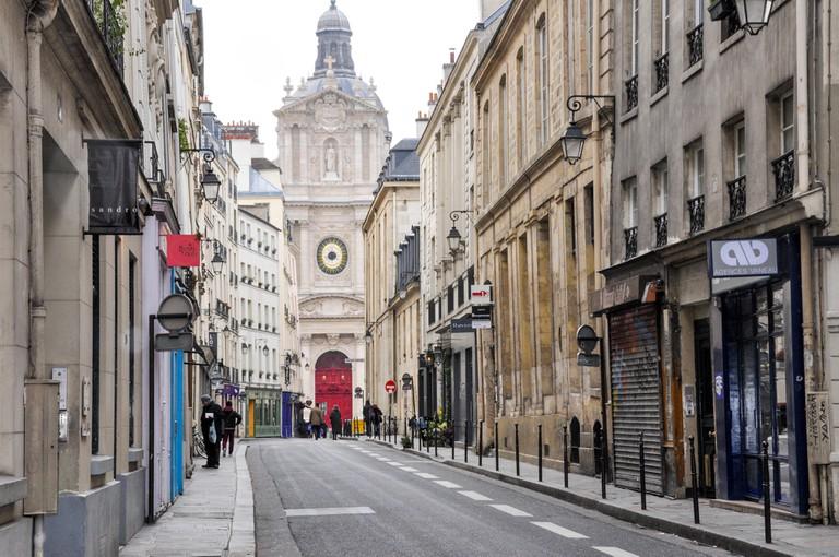 St Louis church at the end of Rue de Sevigne in le Marais district of Paris