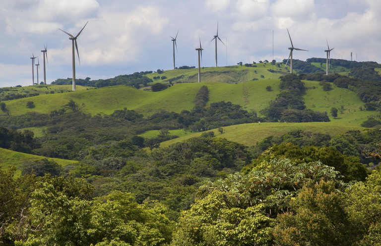 Wind turbines dot the hills around Lake Arenal in Costa Rica