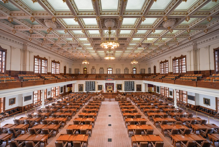 The Texas House of Representatives meets in this room