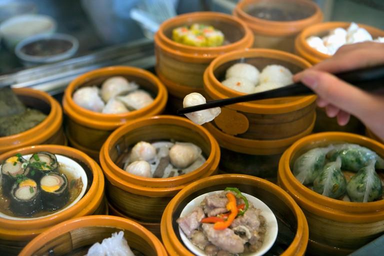 Steamed dumplings in steamer baskets