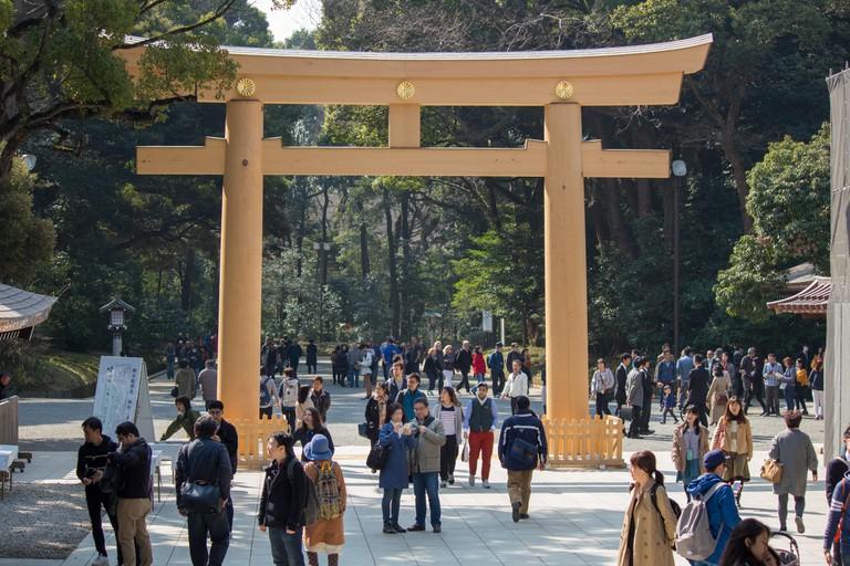 The Torii (shrine archway) at Meiji Jingu shrine in Tokyo