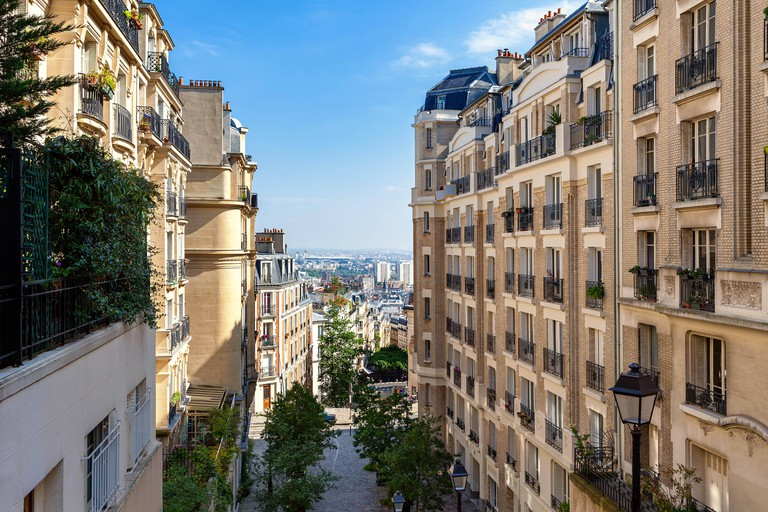 View of modern residential buildings on Montmartre in Paris, France