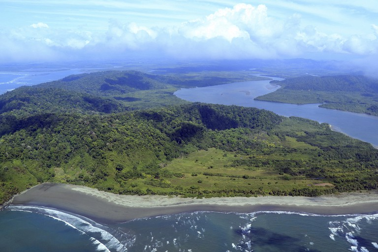 Aerial view of the rivermouth at Isla Violin Humedal Nacional Terraba Sierpe in Puntarenas Province, Costa Rica.