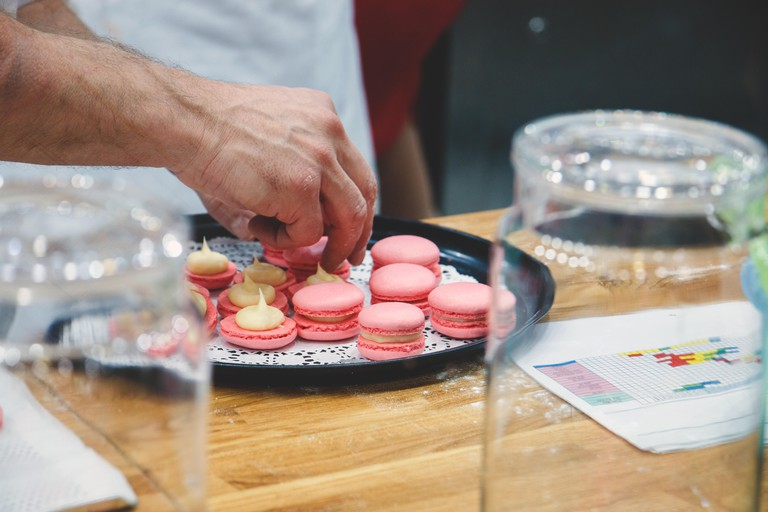 Chef preparing macaroons
