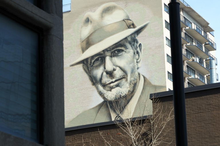Mural representing Leonard Cohen in downtown Montreal.