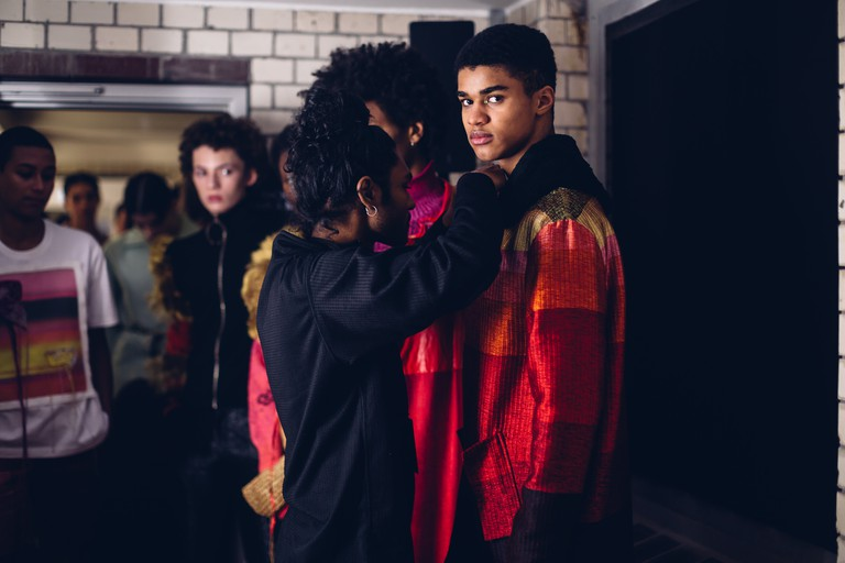 Amesh Wijesekera perfects his runway collection backstage at Mercedes-Benz Fashion Week Berlin Autumn/Winter 2019