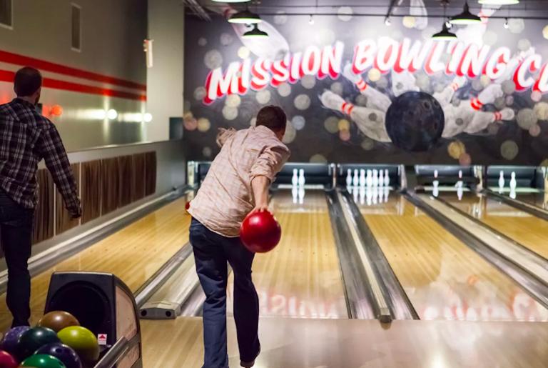 A bowler at Mission Bowling Club in San Francisco, California