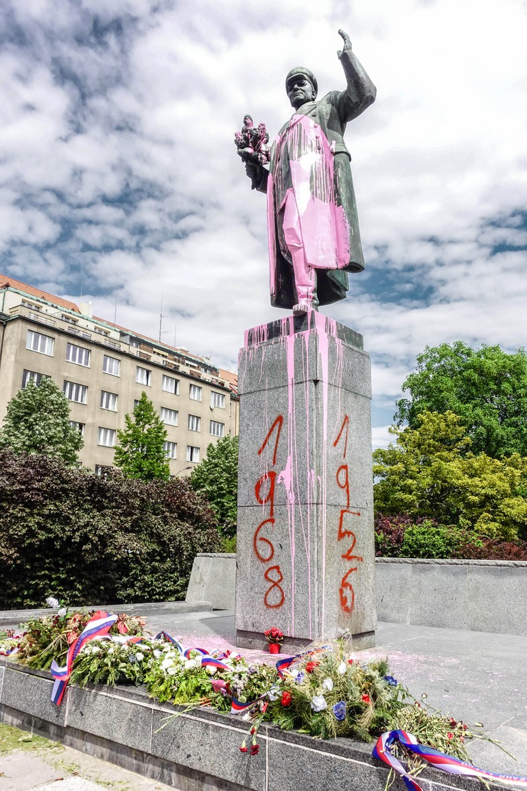 At Bubenec in Prague someone on the night of May 8, 2018 polished pinkish sculpture of Marshal Konev and sprayed on the base year 1956 and 1968.