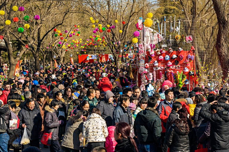 Chinese people crowd to Temple Fair during Chinese New Year