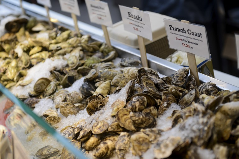 Oyster Display at Lobster Place in Chelsea Market, New York, USA.