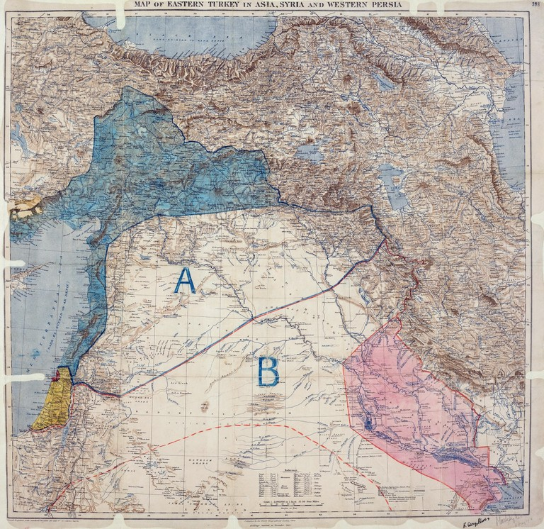 Sykes-Picot Agreement Map, signed 8 May, 1916