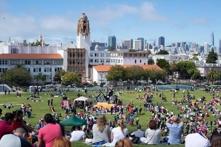 Mission Dolores Park panorama in San Francisco, California.