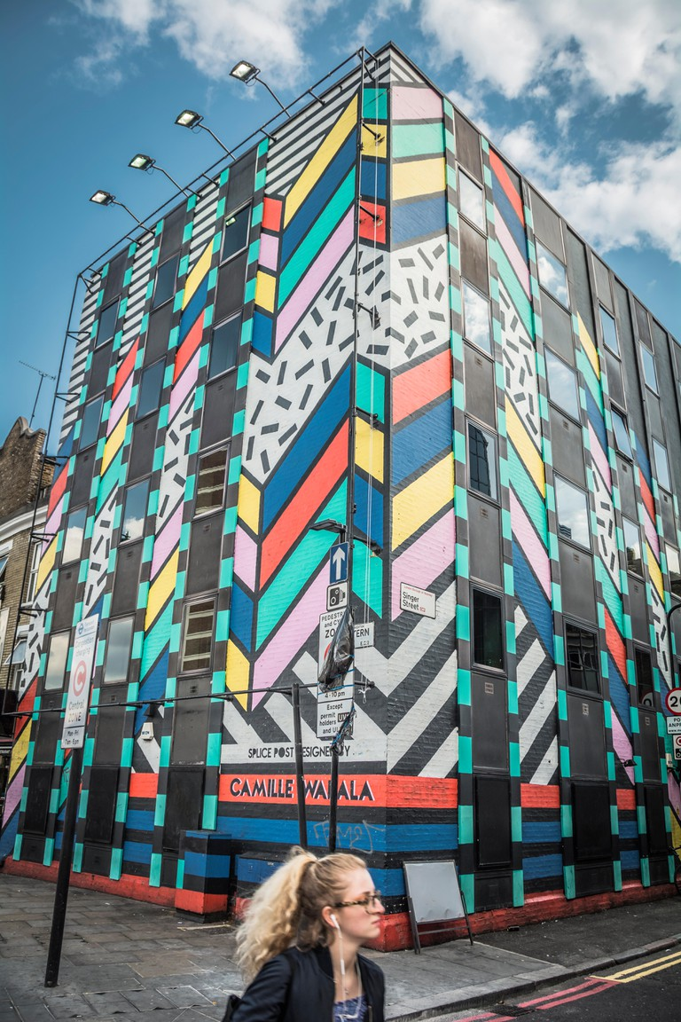 Camille Walala's Dream Come True Building on Singer Street, next to Old Street roundabout, in LOndon's East End, UK