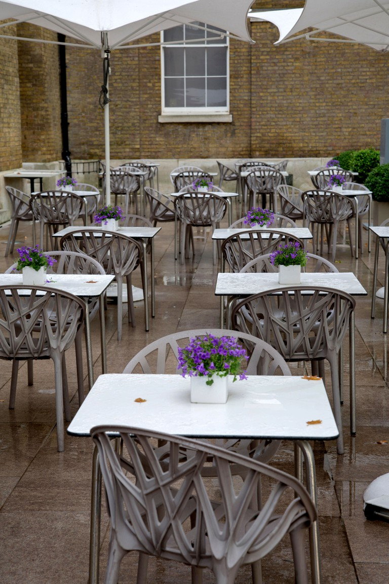 Cafe Table and Chairs, Gallery Mess, Saatchi Museum, Duke of York Square; Chelsea; London; England; U