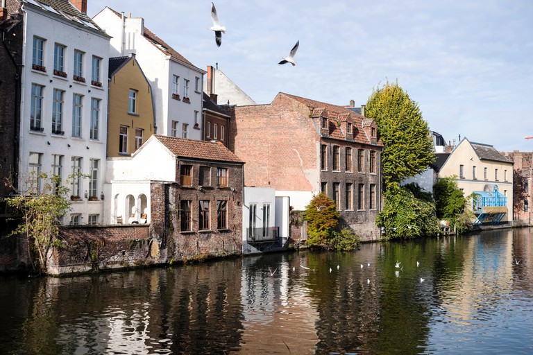 Houses along the Leie river, Ghent, Belgium