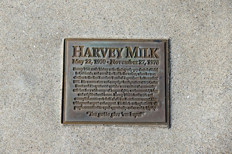 Sidewalk plaque where Harvey Milk's ashes were interred on the sidewalk outside his camera store on Castro Street, Castro District, San Francisco, CA.