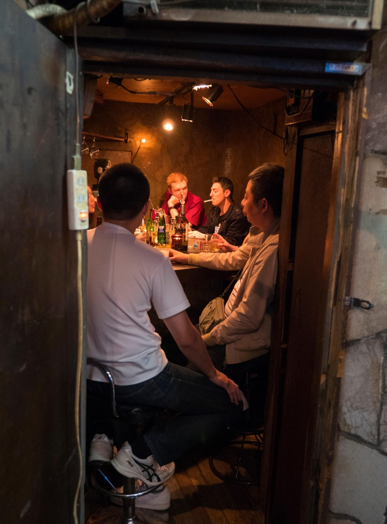 Tiny bar in the Golden Gai area of Shinjuku Tokyo, Japan.