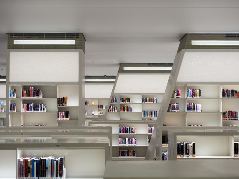 The enormous facility contains a 220,000-volume library