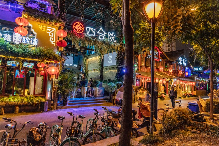 CHENGDU, CHINA - SEPTEMBER 26: This is Jiuyanqiao bar street, a famous entertainment are where many people visit bars and clubs at night on September