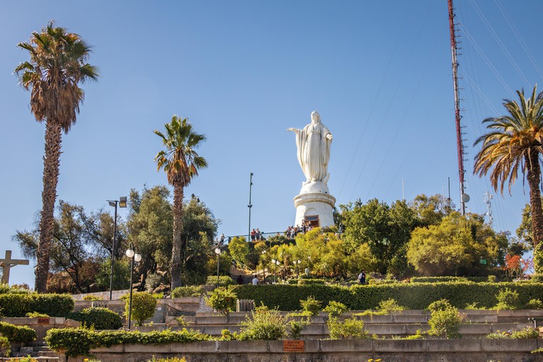 Virgin Statue on top of San Cristobal Hill - Santiago, Chile