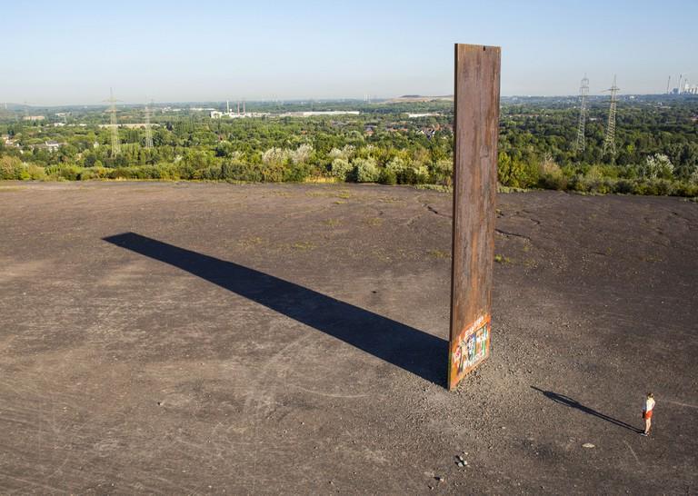 'Slab for the Ruhr' by Richard Serra stands on the Schurenbachhalde heap, Essen, North Rhine-Westphalia.